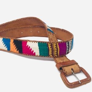 Bohemian Native American Aztec Brown Leather Belt